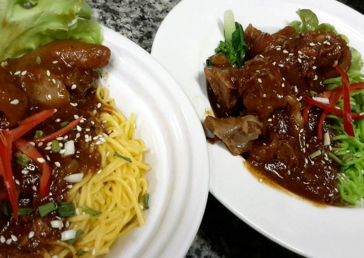 Kanya's Braised Pork Knuckles with BBQ sauce