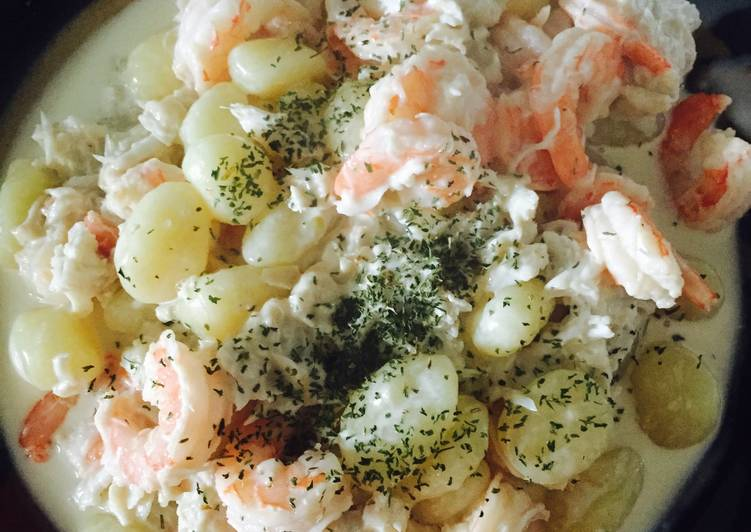 How to Make Homemade Seafood Gnocchi With White Wine Parmesan Sauce