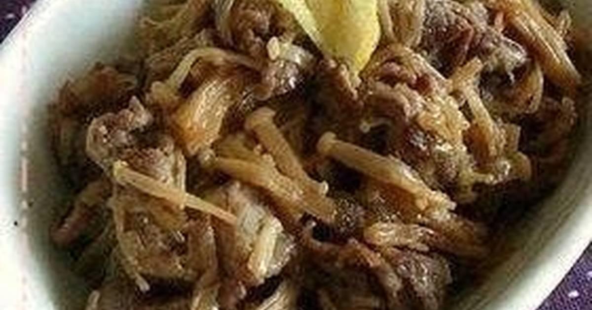 Simmered Beef and Enoki Mushrooms