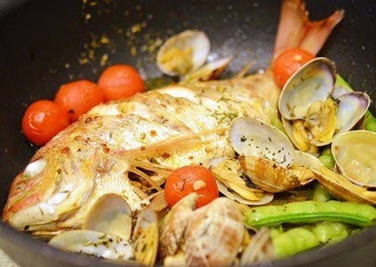 Steps to Make Super Quick Homemade Orata all'acqua Pazza (Poached Sea Bream)