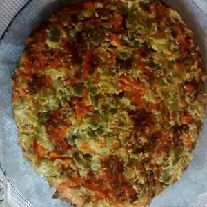 Tortilla de zapallito y vegetales