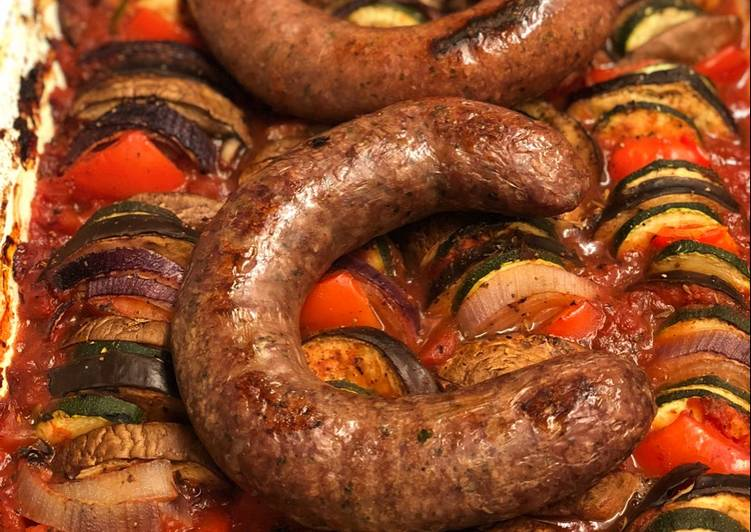 Farm shop wild boar and venison sausages on ratatouille