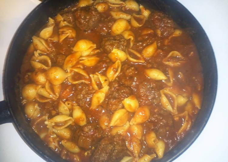 My Shells and Meat Sauce