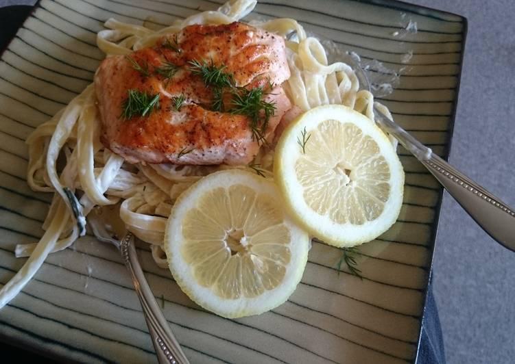 Seared Salmon and Lemon Linguine