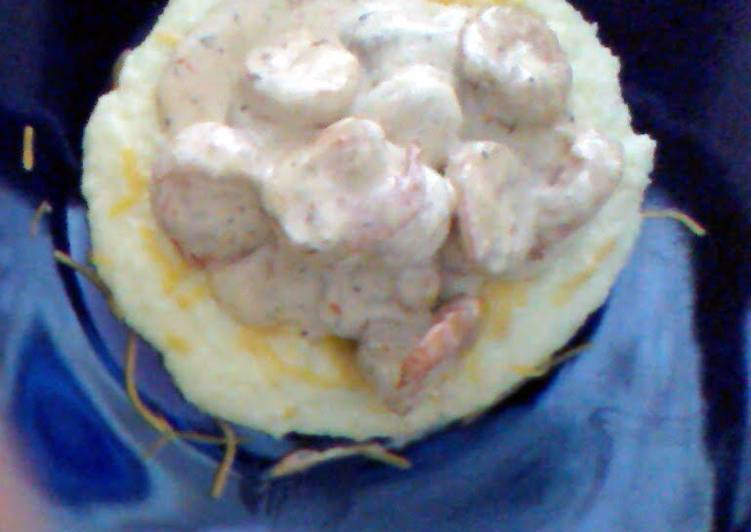Southern Style Grits Topped with creamy Cajun Shrimp