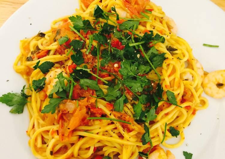 Recipe of Most Popular Chilli Prawn Linguine