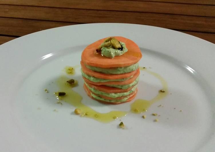 RAW SWEET POTATO and SPINACH STACK
