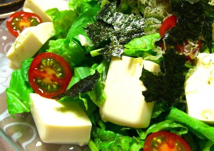 Recipe of Speedy Tofu and Crispy Jako Fish Salad