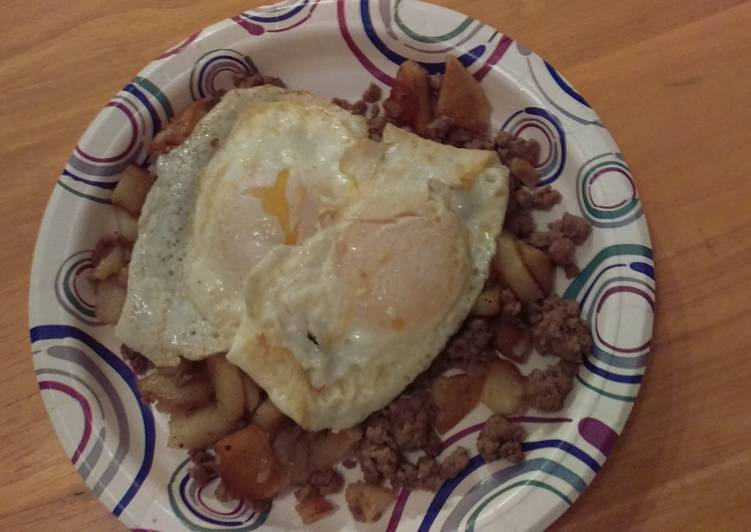 Ground beef, Potatoes and Eggs