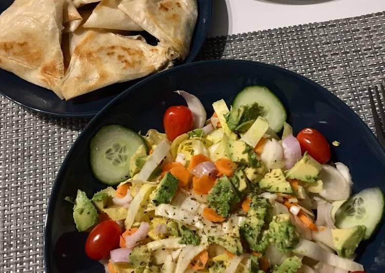 Recette Parfait Samosas au thon-philadelphia et salade composée