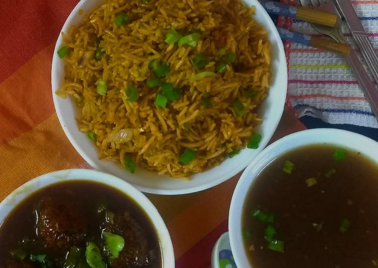 Easiest Way to Make Ultimate Chainese manchurian with soup and fried rice