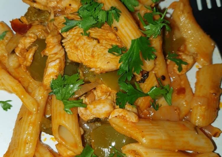Spicy chicken & bell pepper one pot pasta 🌶👌
