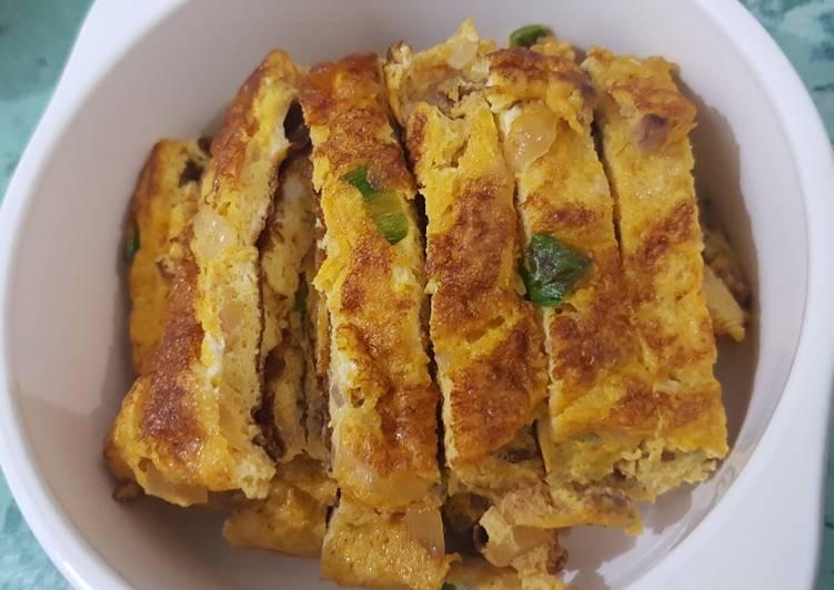 Resep Telur Dadar Daging Cincang (untuk anak 2+) Terbaik