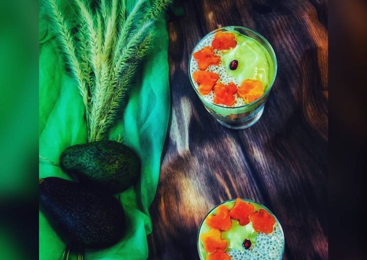 Recipe of Award-winning - Avocado Milkshake with chia seeds,Layered with Papayas & Vanilla Sponge Cake