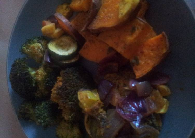 Roasted vegetables and chicken