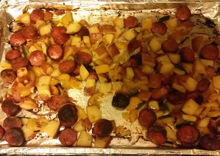 Spicy Roasted Sausage Potatoes and Peppers