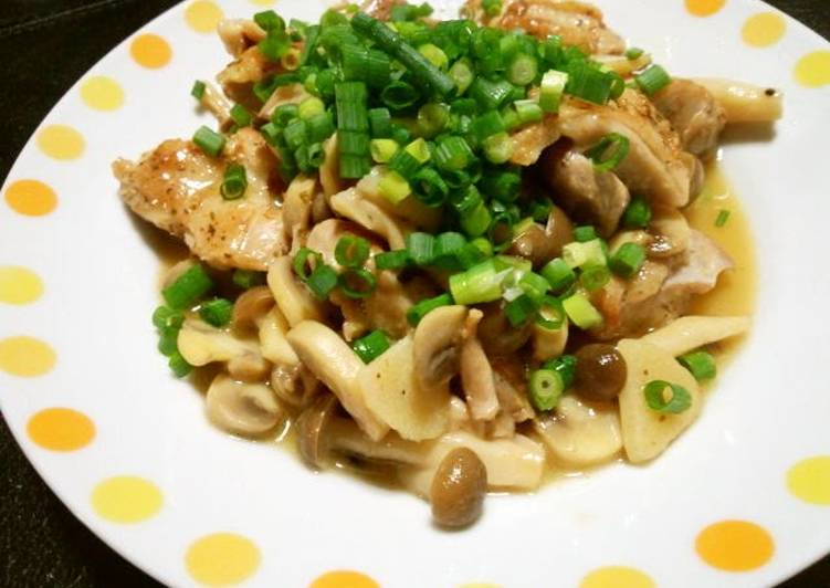 Chicken and Mushrooms Steamed in White Wine (or Sake)