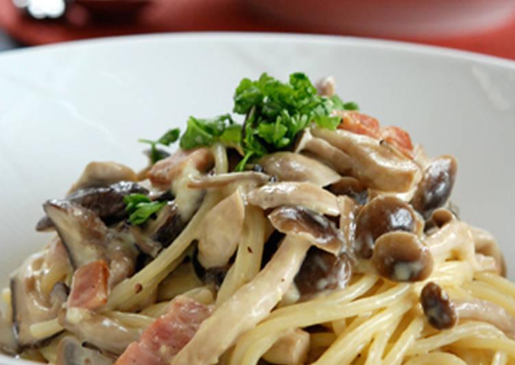 Mushroom Carbonara Pasta with Mustard