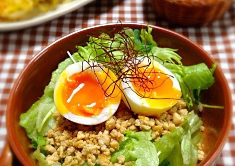 Recipe: Appetizing Tofu Soboro and Salad Rice Bowl