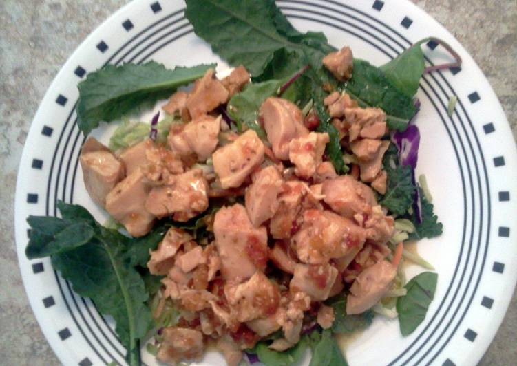 Easiest Way to Make Homemade Roasted chicken in marinated sundried tomatoes atop kale salad