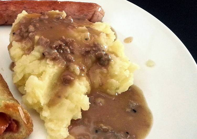 Recipe: Perfect Mashed Potato with Gravy Sauce (in english & bahasa)