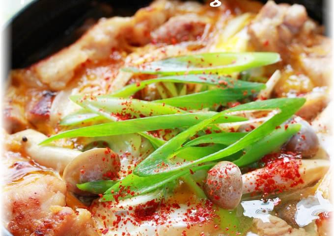 Sukiyaki-style Shio-koji Chicken with Egg