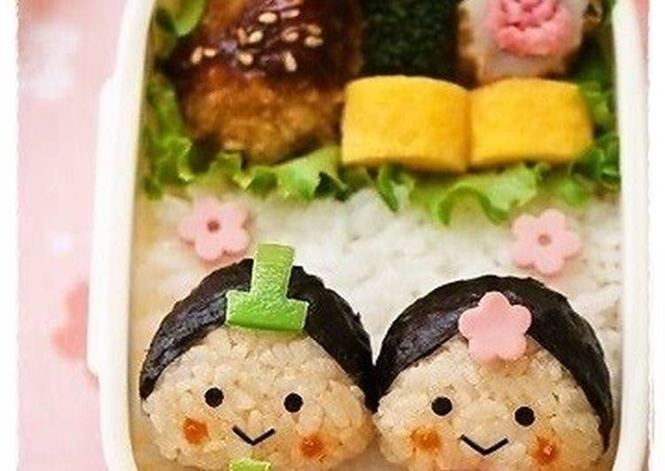 Character Bento with Little Hina Dolls for Doll Festival