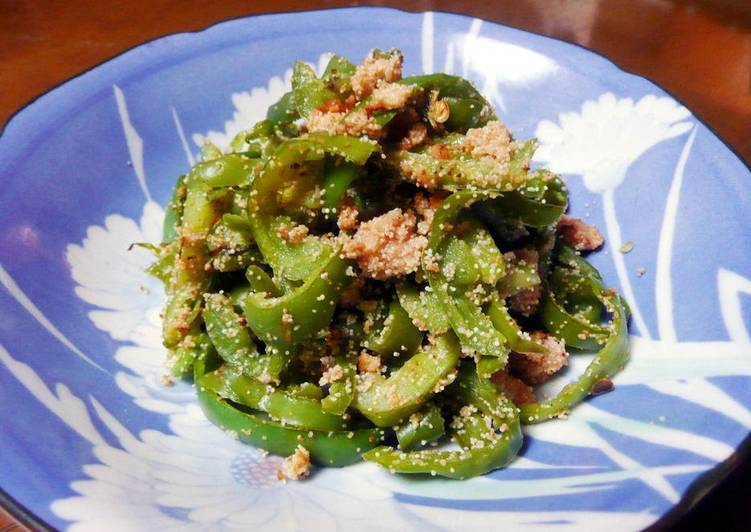 Steps to Prepare Perfect Stir-Fried Green Peppers with Spicy Cod Roe