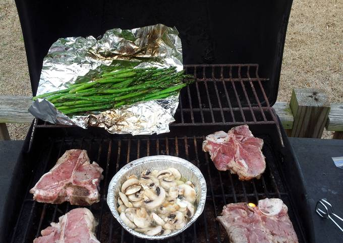 Grilled Veal Chops with Mushroom, white wine & butter.