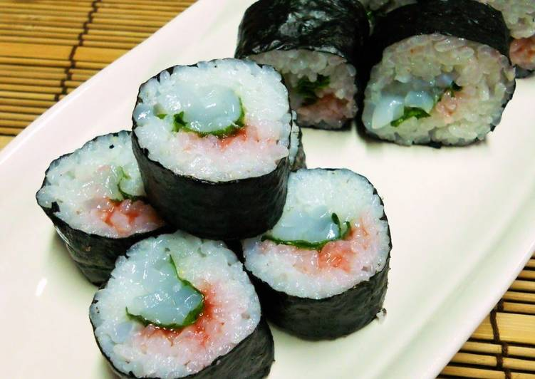 Eating This 14 Superfoods Is A Good Way For Your Health, Rolled Sushi with Squid, Ume Plum and Shiso Leaves