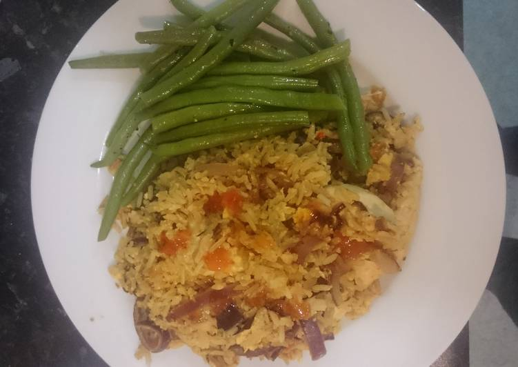 Nasi Goreng chicken with buttered beans