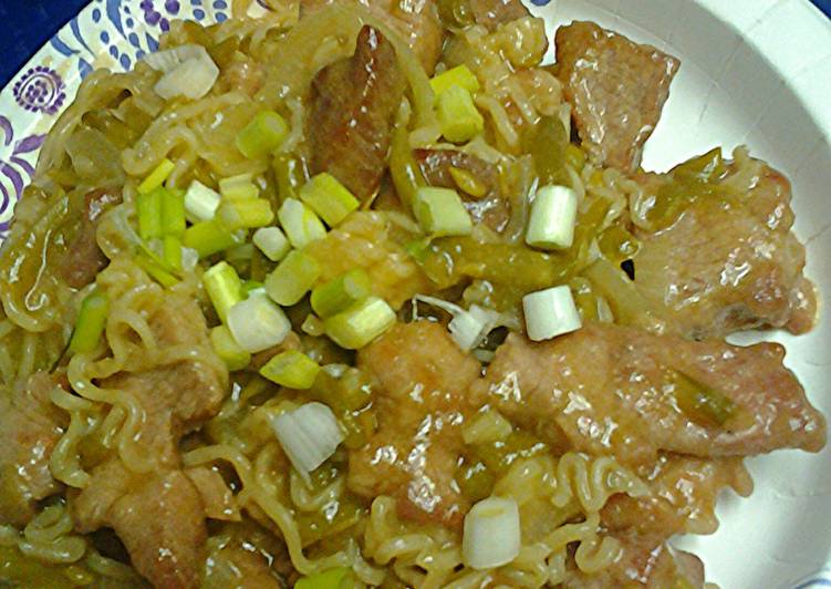 Recipe: Yummy Ramen noodles pork and green bean stirfry