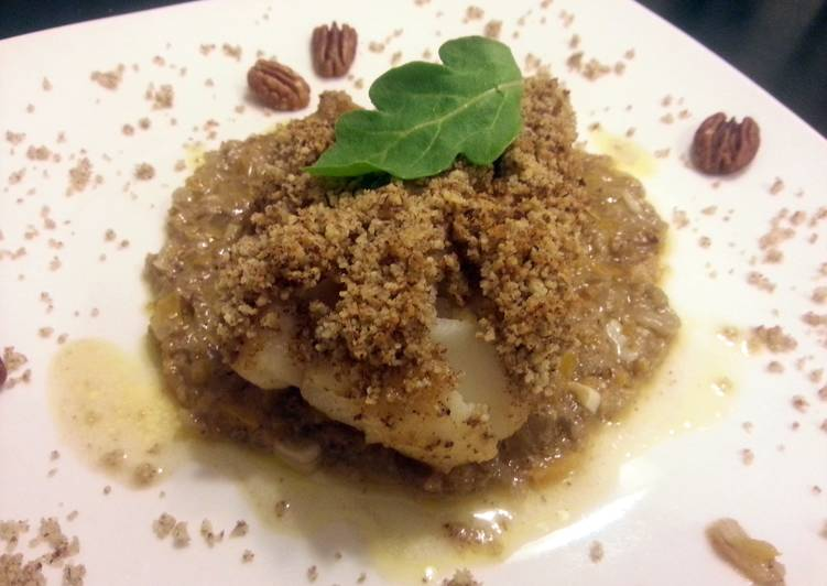 Pecan crusted cod with a buerre blanc sauce