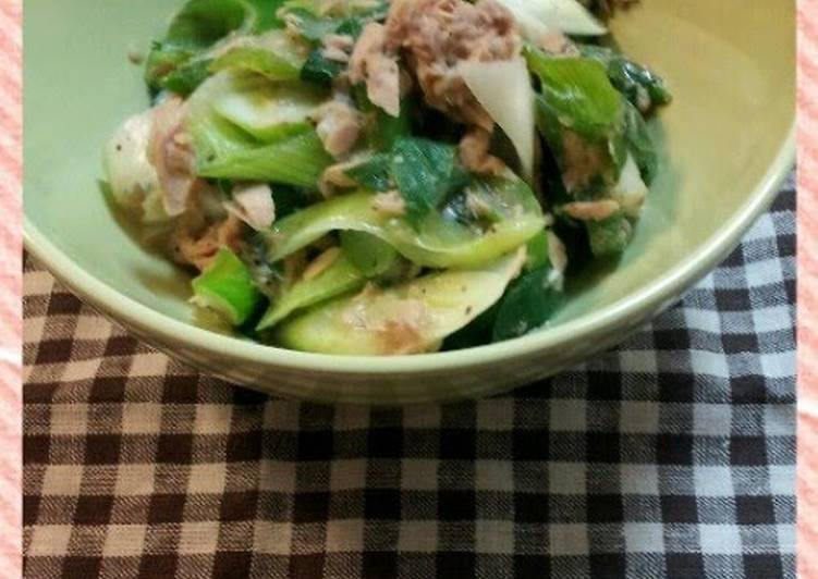 Simple Way to Make Favorite 5-Minute Japanese Leek and Canned Tuna Side Dish