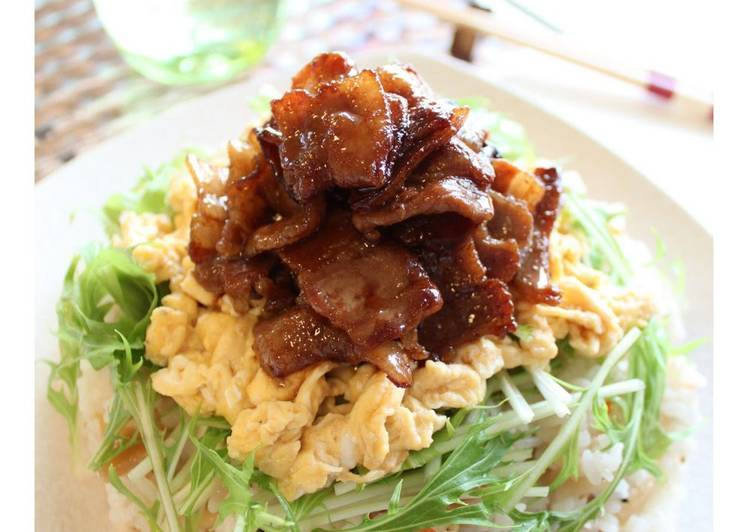 Recipe of Favorite Chirashi Sushi with Thinly-sliced Pork Belly and Creamy Scrambled Eggs