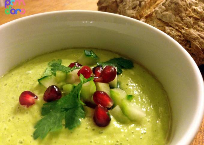 Chilled avocado soup with cucumber and pomegranate salsa