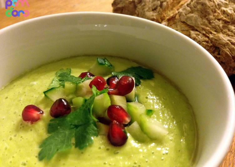 Chilled avocado soup with cucumber and pomegranate salsa, Choosing Fast Food That's Very good For You