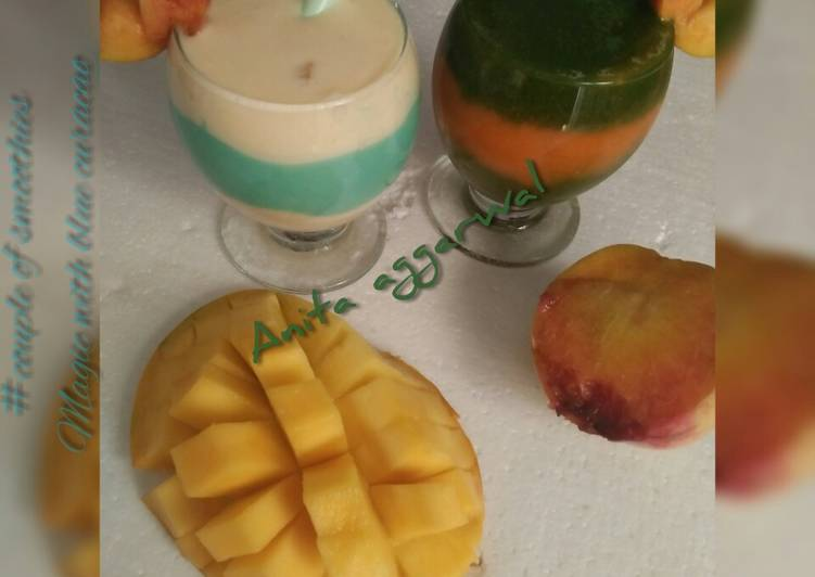 Recipe of Speedy A couple of smoothies#magic with blue curacao syrup