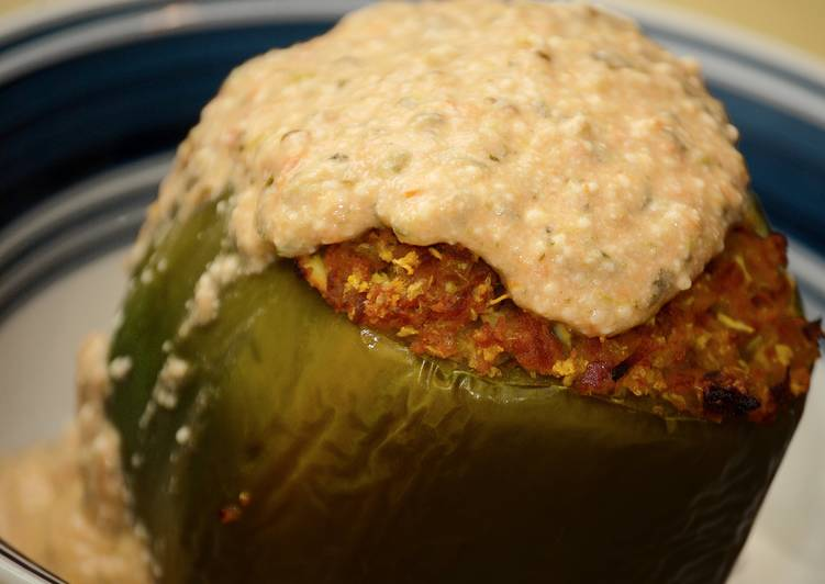Cauliflower Stuffed Peppers w/Spicy Queso Marinara