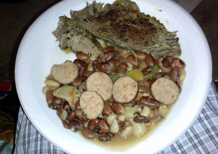 Chuck roast and pantry beans with hamhock and sausage
