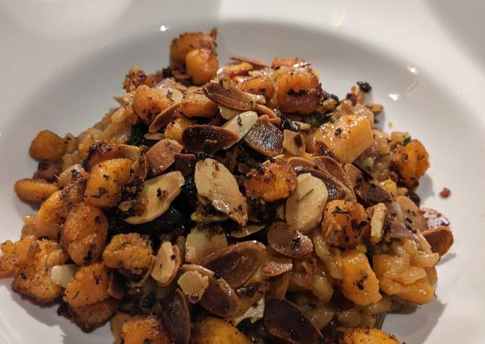 Vegan Roasted Sweet Potato, Almond and Spinach Risotto