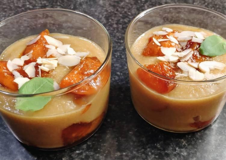 Verrines semoule/abricots caramélisés (vegan)