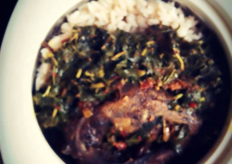 Recipe of Homemade Rice & Beans with roasted fish & steamed Spinach