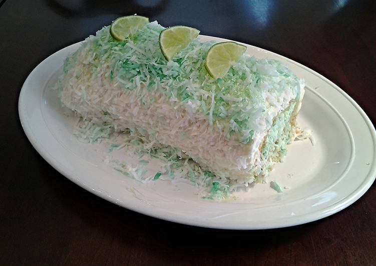 Coconut Cake Roll with Key Lime Cream Filling