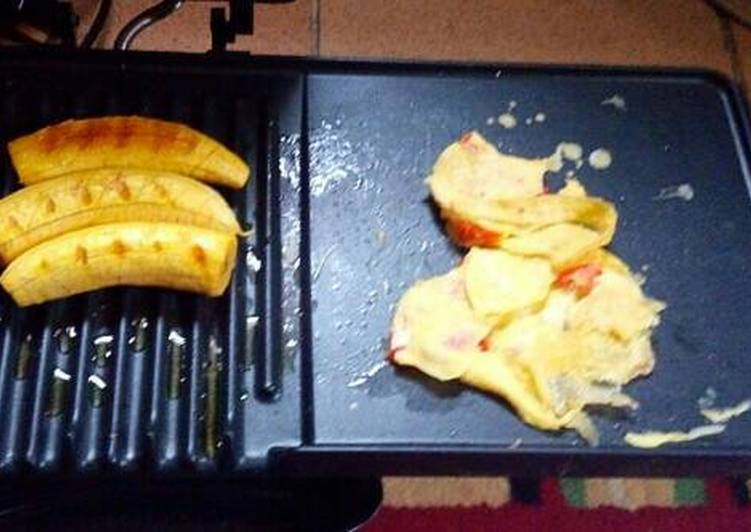 Grilled Plantain and Fried Omelette..