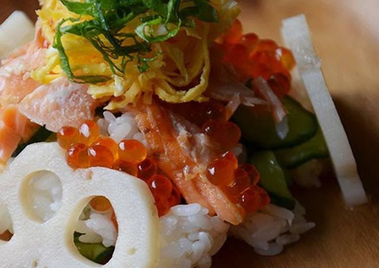 30 Minute Steps to Make Quick Salmon and Salmon Roe Oyako Chirashizushi