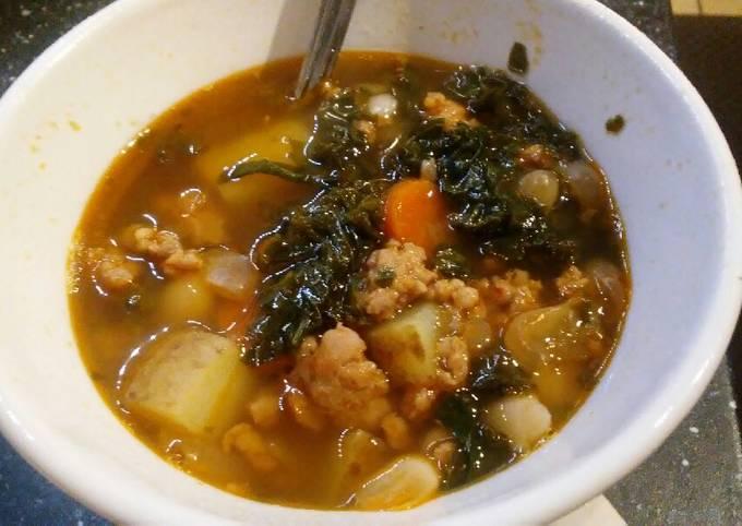 Sausage, bean, kale stew