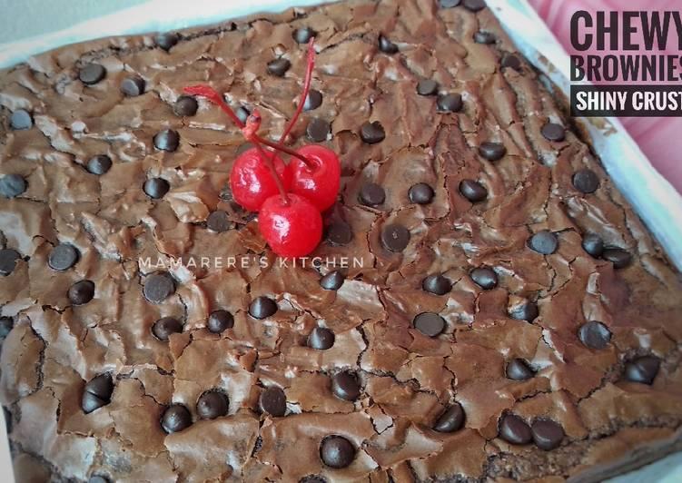 Resep Chewy Brownies Shiny Crust Anti Gagal
