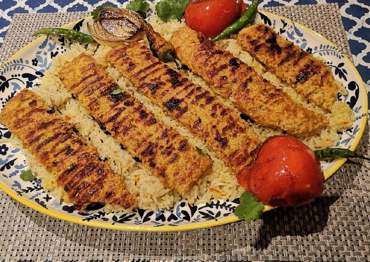 Recipe of Favorite Persian Kababs with saffron rice (kebob Tabei)