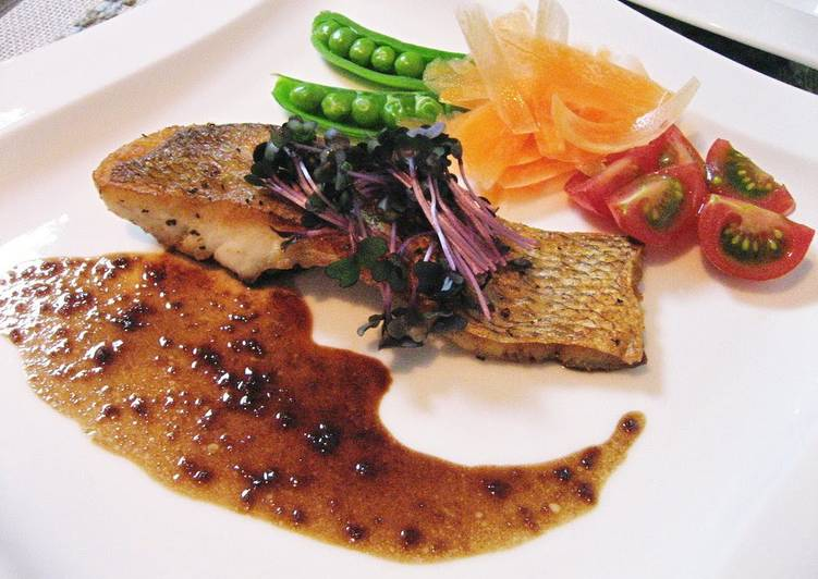 Sea Bream Pan Fried in Butter with Balsamic Vinegar and Yuzu Pepper Sauce - Laurie G Edwards